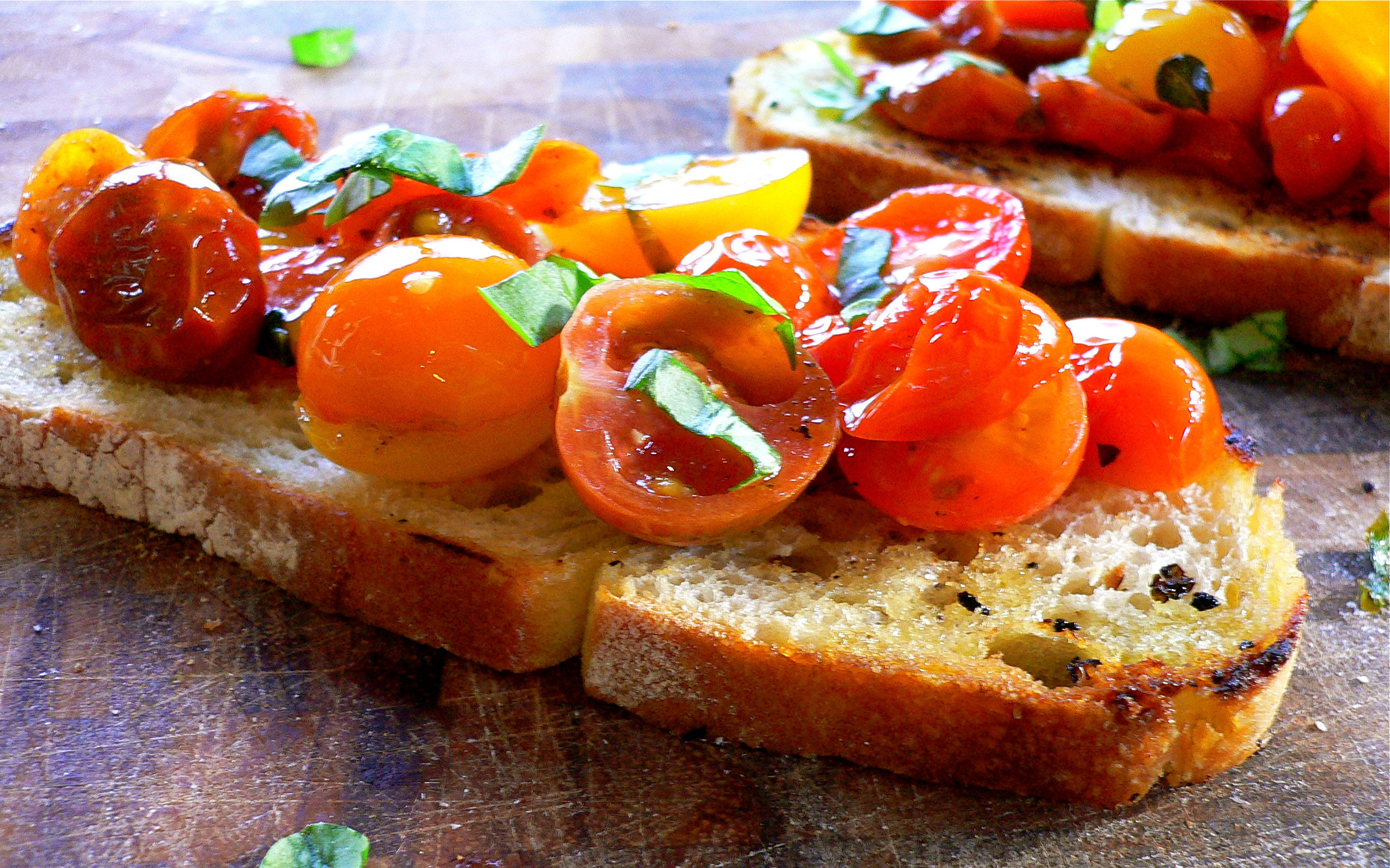 Bruschetta with Organic Grape Tomato, Garlic and Basil